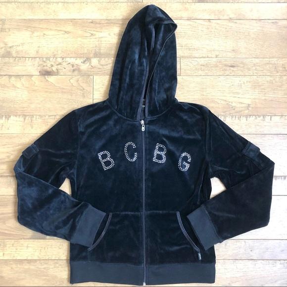 BCBG Velour Full Zip Up Hoodie Black L